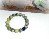 Rainforest II - CZ pave ball, and Natural Turquoise Gemstone Stretch Bracelet