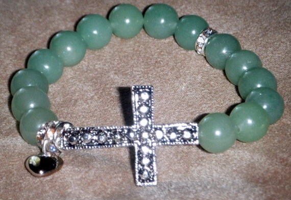 APPLE - Jade, Crystal Encrusted Charms, Antique Silver Plated Large Cross Stretch Bracelet.Great to Wear in a STACK