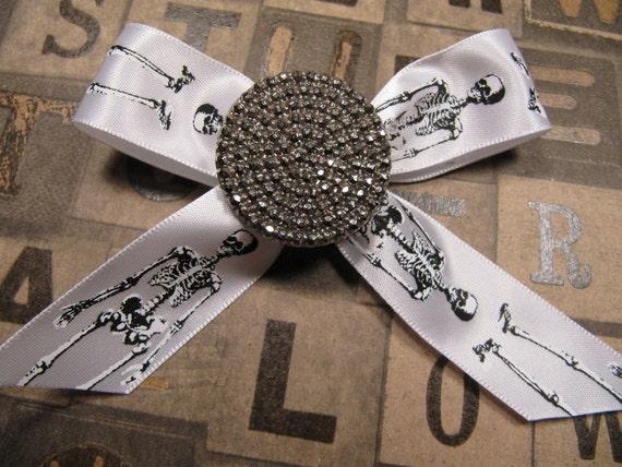 Hollywood Skeleton Hair Clip Vintage 1950s Button Skulls White Anatomy Bow