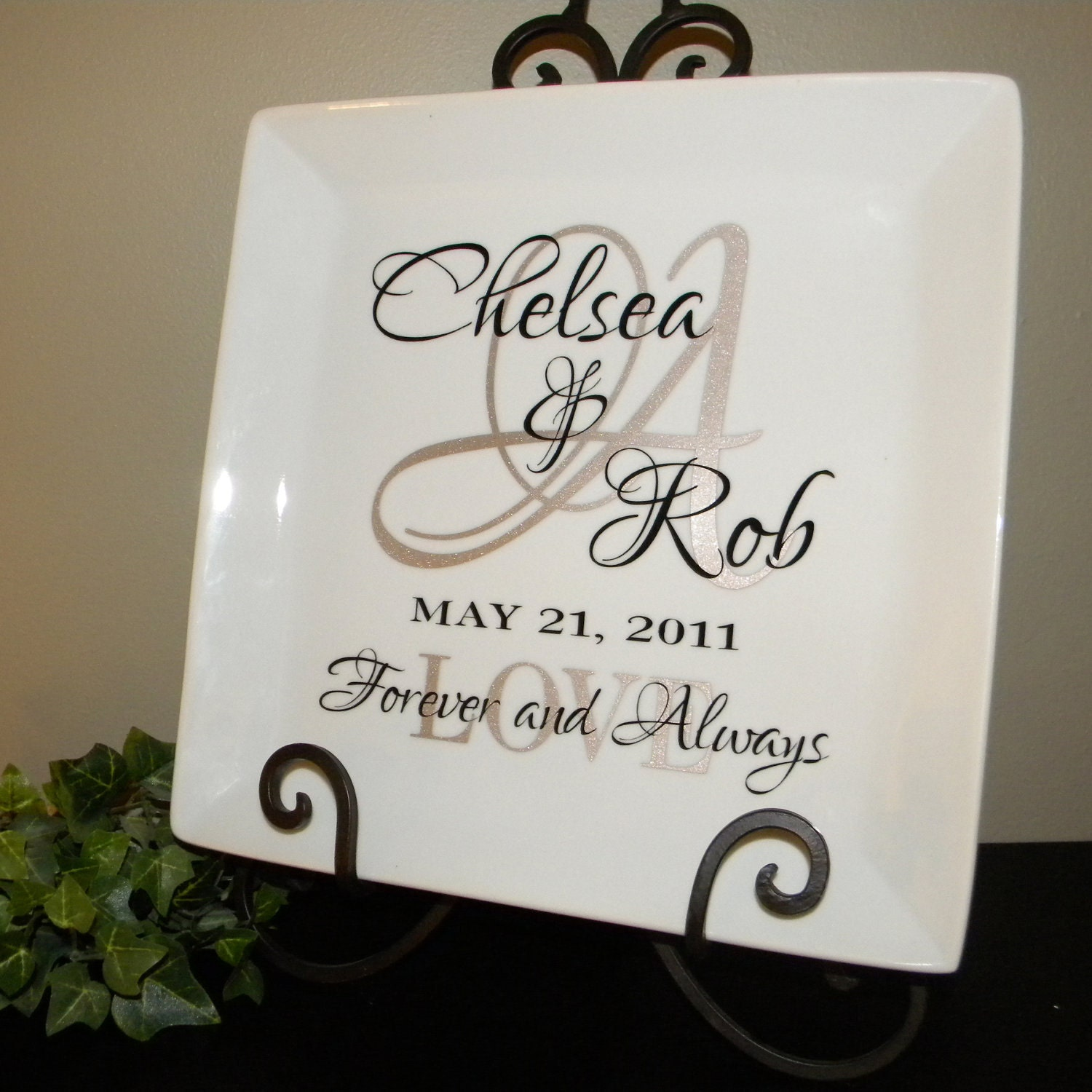 Personalized Wedding Gift couples names and initial by ginatet
