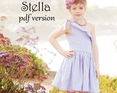Stella One-Shoulder Dress PDF Pattern & Tutorial, Easy How to Ebook, Epattern, All Sizes 2-10 included
