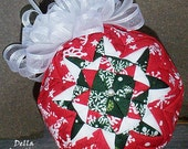 """Quilted Patchwork Ornament - 3"""" - Red & Green Snowflake Fabric w/White Bow"""