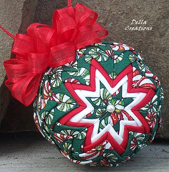 Quilted Ornament - 2.5 Inch  -  Peppermint Candy Fabric w/Satin-Edged Red Bow