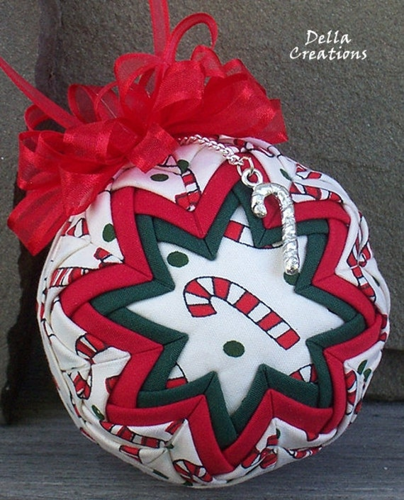 """Quilted Ornament w/Charm - 3"""" - Candy Cane Fabric, Pewter Candy Cane Charm"""