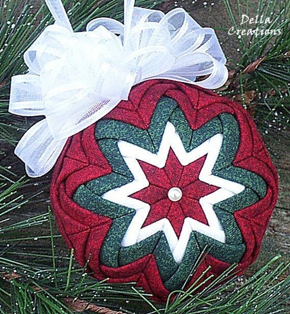 2.5-inch Quilted Ornament - Dark Red & Dark Green Fabric w/White Bow