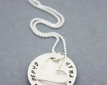 Hand Stamped Jewelry Personalized Cupped Sterling Silver Mommy Necklace and Heart Charm Christmas