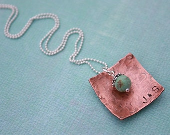 Hand Stamped Jewelry Personalized Rustic Antiqued Copper Square Necklace Turquoise Charm Christmas