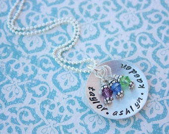 Hand Stamped Jewelry Personalized Sterling Silver Birthstone Necklace Christmas