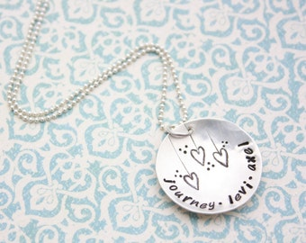 Hand Stamped Jewelry Custom Sterling Silver Sweet Heartstrings Necklace Mothers Day