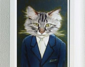 """Framed Fine Art Print- """"Alan"""" - A Cat in Clothes - Limited Edition Fine Art Giclee Print From Painting by Heather Mattoon"""