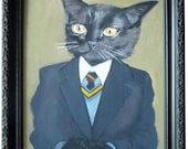Framed Large Giclee of Cats In Clothes