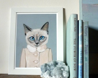 Framed Fine Art Print - Violet - Cats In Clothes by Heather Mattoon