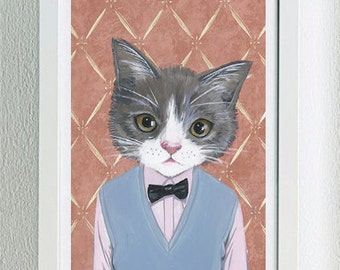 Framed Fine Art Print - Morris - Cats In Clothes by Heather Mattoon
