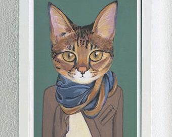 Framed Fine Art Print - Savannah - Cats In Clothes by Heather Mattoon