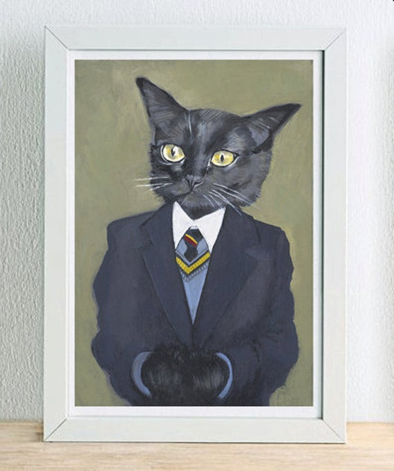 Framed Fine Art Print - George - Cats In Clothes by Heather Mattoon