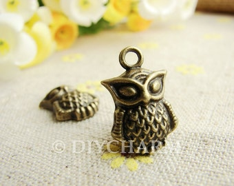 Antique Bronze Lovely Owl Charms 13x16mm - 10Pcs - DC21789
