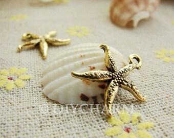 Antique Gold Starfish Charms 16x20mm - 20Pcs - DE18157