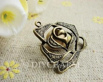 Antique Bronze Filigree Rose Flower Charms 29x30mm - 10Pcs - DC20742