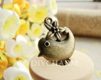 Antique Bronze Lovely Bird Charms 17x21mm - 10Pcs - FI20910