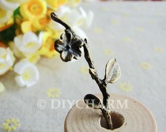 Antique Bronze Flower Branch Charms 13x41mm - 10Pcs - DC22056