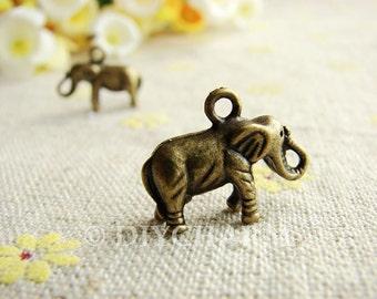 Antique Bronze 3D Elephant Charms 11x19mm - 10Pcs - DC22693