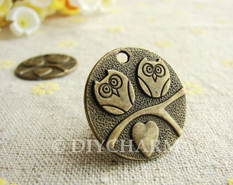 Antique Bronze Two Owls In Love Round Charms 25mm - 5Pcs - DC22694