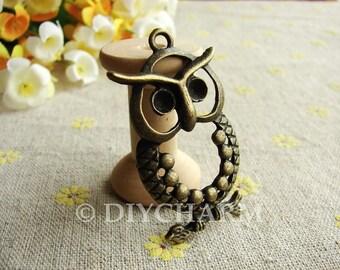 Antique Bronze Lovely Owl Charms 22x45mm - 2Pcs - DC22865