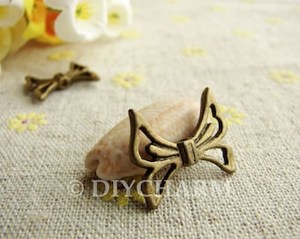 Antique Bronze Butterfly Knot Charms 17x20mm - 10Pcs - DC23067
