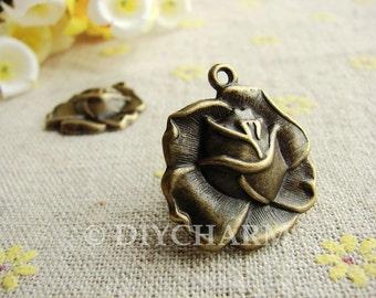 Antique Bronze Lovely Rose Flower Charms 22x23mm - 10Pcs - DC22313