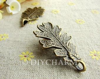 Antique Bronze Metal Leaf Charms 48x24mm - 5Pcs - DC23157