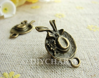 Antique Bronze Butterfly Knot Summer Hat Charms 15x26mm - 5Pcs - DC23164
