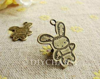 Antique Bronze Dancing Rabbit Charms 25x19mm - 10Pcs - DC23263