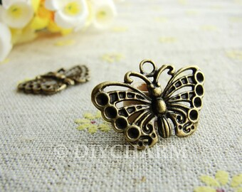 Antique Bronze Butterfly Charms 25x15mm - 10Pcs - DC23318