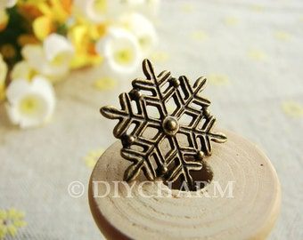 Antique Bronze Cute Snow Flake Charms 17mm - 20Pcs - DC23332