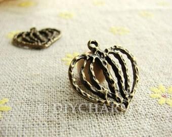 Antique Bronze Filigree Heart Charms 21x21mm - 10Pcs - DC23434