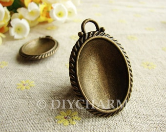 Antique Bronze Cameo Cabochon Base Settings 36x28mm ( Inner Size 30x22mm ) - 2Pcs - DS23506