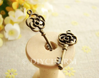Antique Bronze Filigree Flower Key Charms 11x28mm - 10Pcs - DC23638