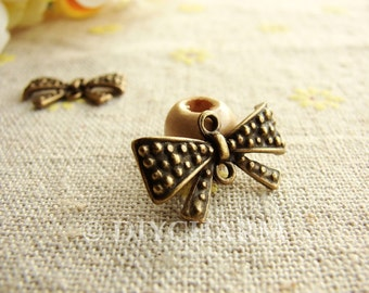 Antique Bronze Lovely Butterfly Knot Charms 11x20mm - 10Pcs - FI23648