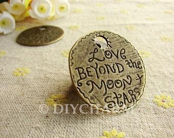 Antique Bronze Love Beyond Moon Stars Round Pendants Findings 37.5mm - 2Pcs - DC22314