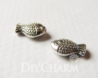 Antique Silver Tone Little Smile Fish Spacer Beads 10x7mm - 100Pcs - AR23979