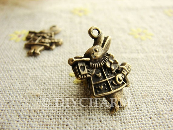 Antique Bronze Alice In Wonderland Rabbit Charms 21x16mm - 10Pcs - DC23782