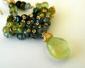 Teardrops earrings. Handmade Tourmaline earrings. Prehnite. Green gemstones. Fancy jewelry.