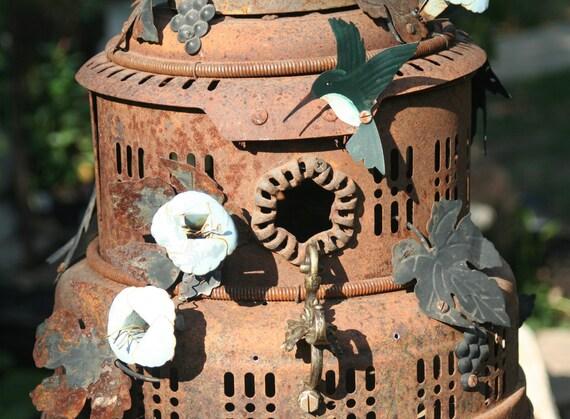 "Birdhouse, Metal Birdhouse, Reclaimed Objects Birdhouse, Garden Art, Reclaimed Items, Found Objects, Handcrafted  ""Hummingbird Cake"""