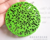 6 PCS - 50mm Pretty Green Lace Style Wooden Charm/Pendant MH060 07