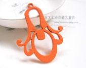 Painting Series- 40x50mm Pretty Orange Flower Drop Wooden Charm/Pendant MH101 12