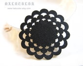 4 PCS - 50x50mm Pretty Black Flowers With Blank Pad Wooden Charm/pendant MH080 01