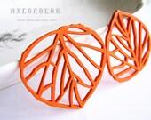 6 PCS - 50x50mm Pretty Orange Leaf Wooden Charm/Pendant MH041 12