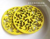 6 PCS - 50mm Pretty Yellow Cross Flower Round Wooden Charm/Pendant MH057 08