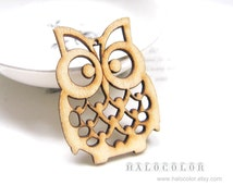 4 PCS - 36x50mm Pretty Nature Color Lucky Owl Wooden Charm/Pendant MH105 11