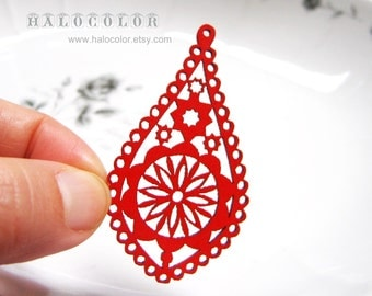 Painting Series- 32x58mm Pretty Red Lace Style Water Drop Wooden Charm/Pendant MH110 03